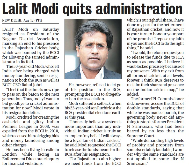 Lalit Modi Bids Adieu to Cricket