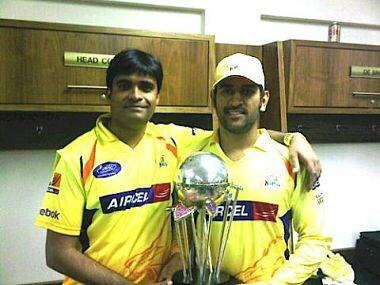 CSK Team Principle Gurunath Meiyappan with Indian captain MS Dhoni