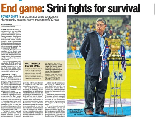 SC instructs Srinivasan to step down as BCCI chief